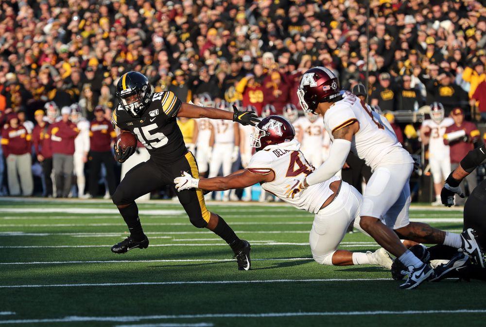 Iowa Hawkeyes running back Tyler Goodson (15) scores against the Minnesota Golden Gophers Saturday, November 16, 2019 at Kinnick Stadium. (Brian Ray/hawkeyesports.com)