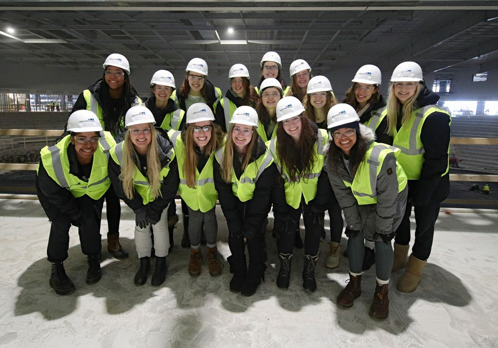 The Iowa Volleyball team take a construction tour of Xtream Arena in Coralville on Thursday, January 30, 2020. (Stephen Mally/hawkeyesports.com)
