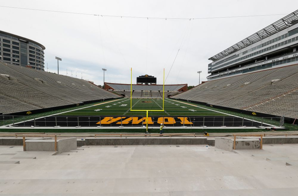 The view from mid-field of the lower bowl of the north end zone Wednesday, June 6, 2018 at Kinnick Stadium. (Brian Ray/hawkeyesports.com)