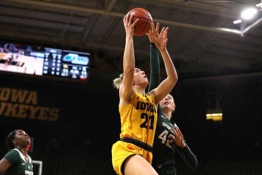 Iowa Hawkeyes forward Hannah Stewart (21) against the Michigan State Spartans Thursday, February 7, 2019 at Carver-Hawkeye Arena. (Brian Ray/hawkeyesports.com)