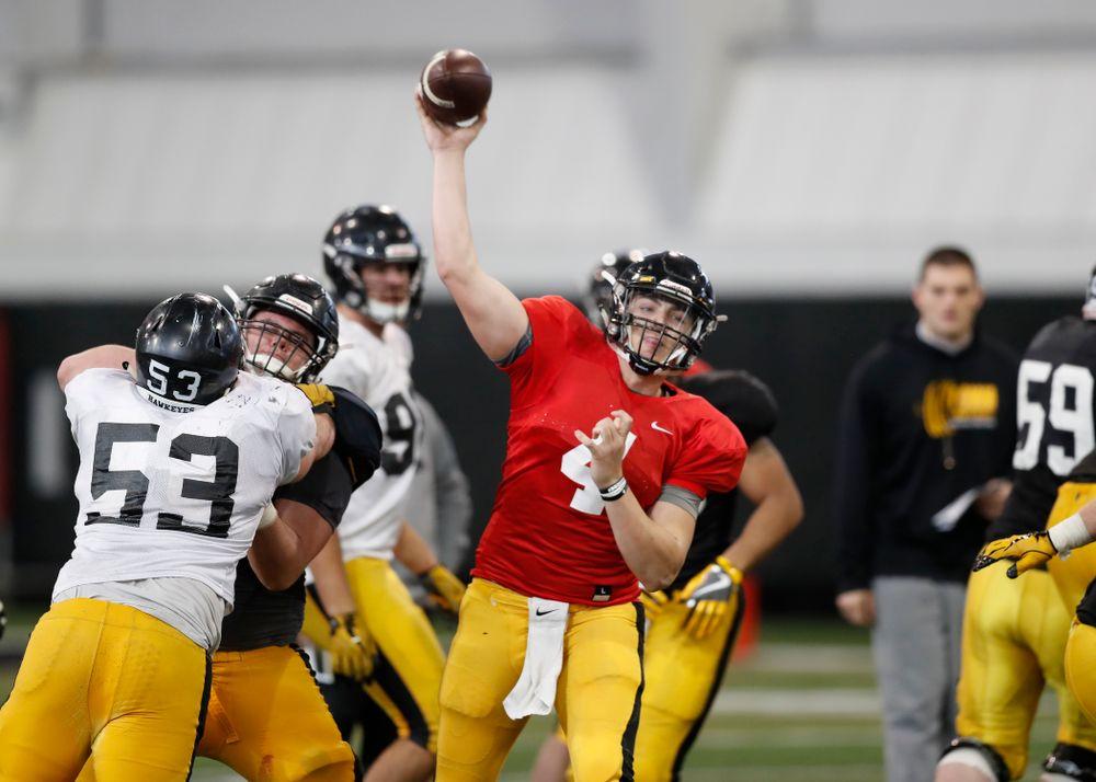 Iowa Hawkeyes quarterback Nathan Stanley (4) Wednesday, April 4, 2018 at the Hansen Football Performance Center. (Brian Ray/hawkeyesports.com)