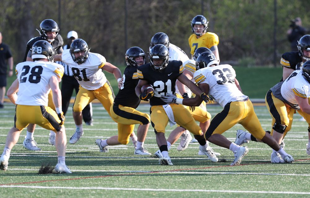 Iowa Hawkeyes running back Ivory Kelly-Martin (21) during the teamÕs final spring practice Friday, April 26, 2019 at the Kenyon Football Practice Facility. (Brian Ray/hawkeyesports.com)