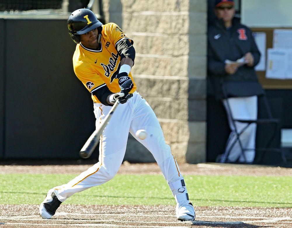 Iowa Hawkeyes infielder Lorenzo Elion (1) bats during the eighth inning against Illinois at Duane Banks Field in Iowa City on Sunday, Mar. 31, 2019. (Stephen Mally/hawkeyesports.com)