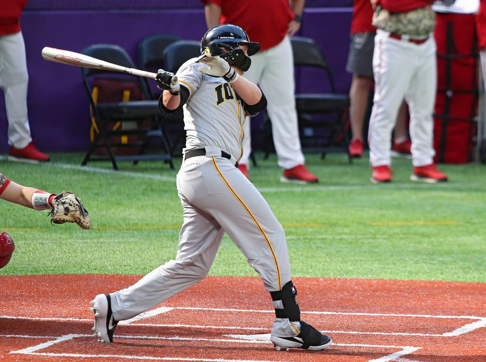 Iowa Hawkeyes outfielder Zeb Adreon (5) drives a pitch for a hit during the fifth inning of their CambriaCollegeClassic game at U.S. Bank Stadium in Minneapolis, Minn. on Friday, February 28, 2020. (Stephen Mally/hawkeyesports.com)