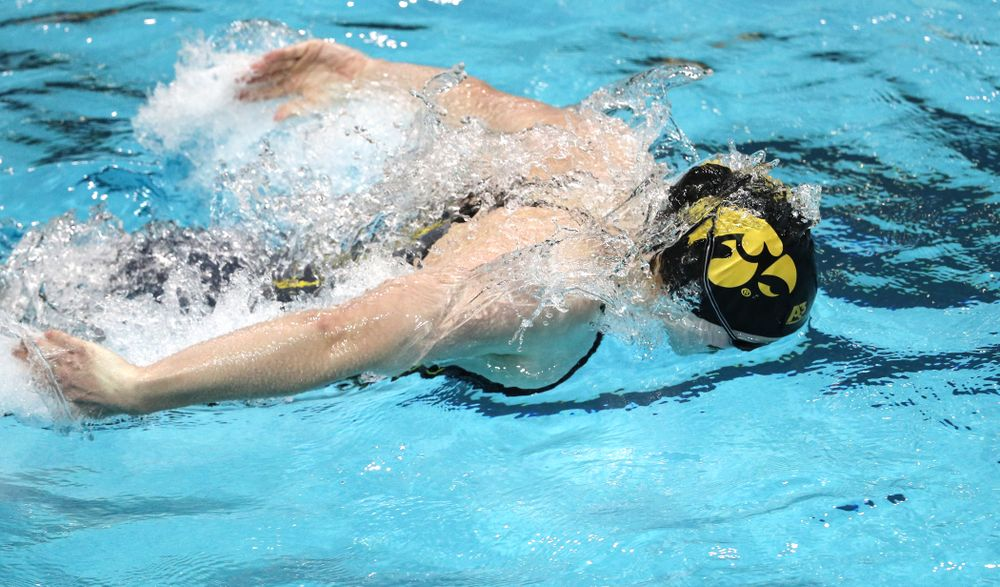 Iowa's Kelsey Drake swims the butterfly leg of the 200-yard medley relay against the Iowa State Cyclones in the Iowa Corn Cy-Hawk Series Friday, December 7, 2018 at at the Campus Recreation and Wellness Center. (Brian Ray/hawkeyesports.com)