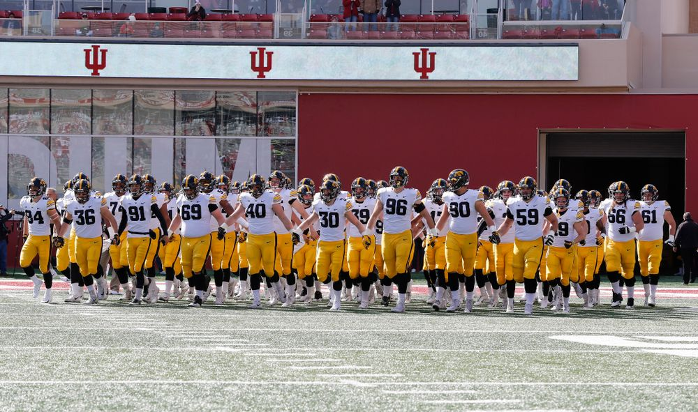 The Iowa Hawkeyes swarm out for their game against the Indiana Hoosiers Saturday, October 13, 2018 at Memorial Stadium, in Bloomington, Ind. (Max Allen/hawkeyesports.com)