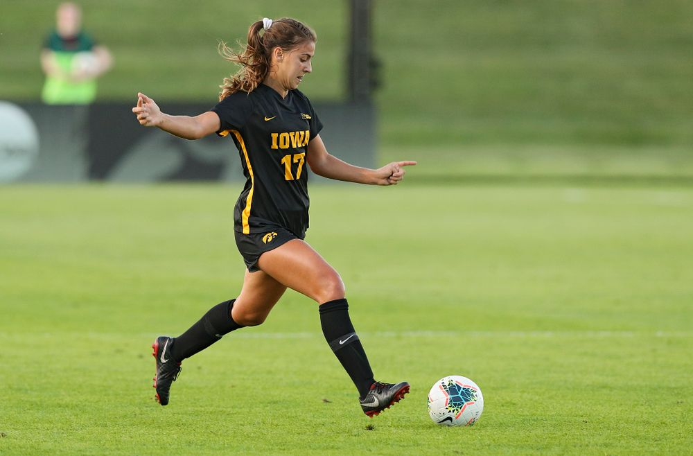 Iowa defender Hannah Drkulec (17) prepares to pass during the first half of their match against Western Michigan at the Iowa Soccer Complex in Iowa City on Thursday, Aug 22, 2019. (Stephen Mally/hawkeyesports.com)