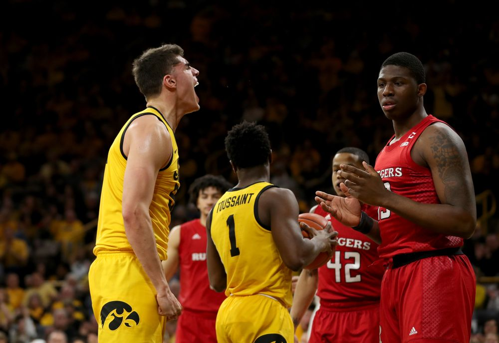 Iowa Hawkeyes forward Luka Garza (55) reacts after making a basket and drawing a foul against the Rutgers Scarlet Knights  Wednesday, January 22, 2020 at Carver-Hawkeye Arena. (Brian Ray/hawkeyesports.com)