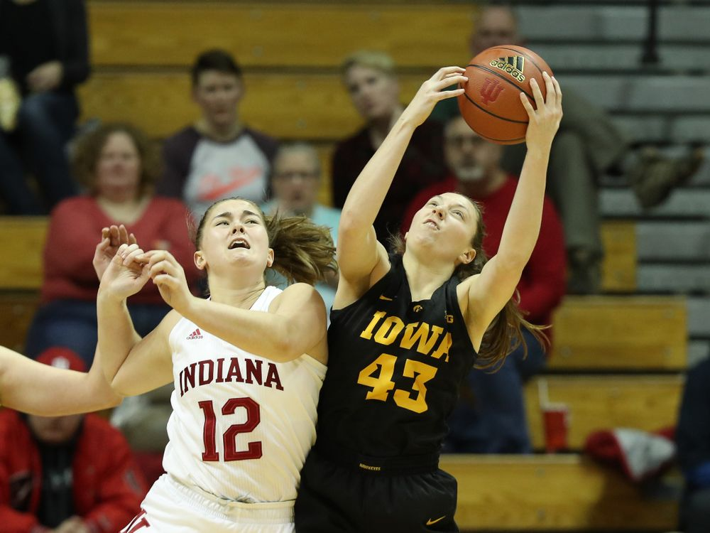 Iowa Hawkeyes forward Amanda Ollinger (43) against the Indiana Hoosiers Thursday, February 21, 2019 at Simon Skjodt Assembly Hall. (Brian Ray/hawkeyesports.com)