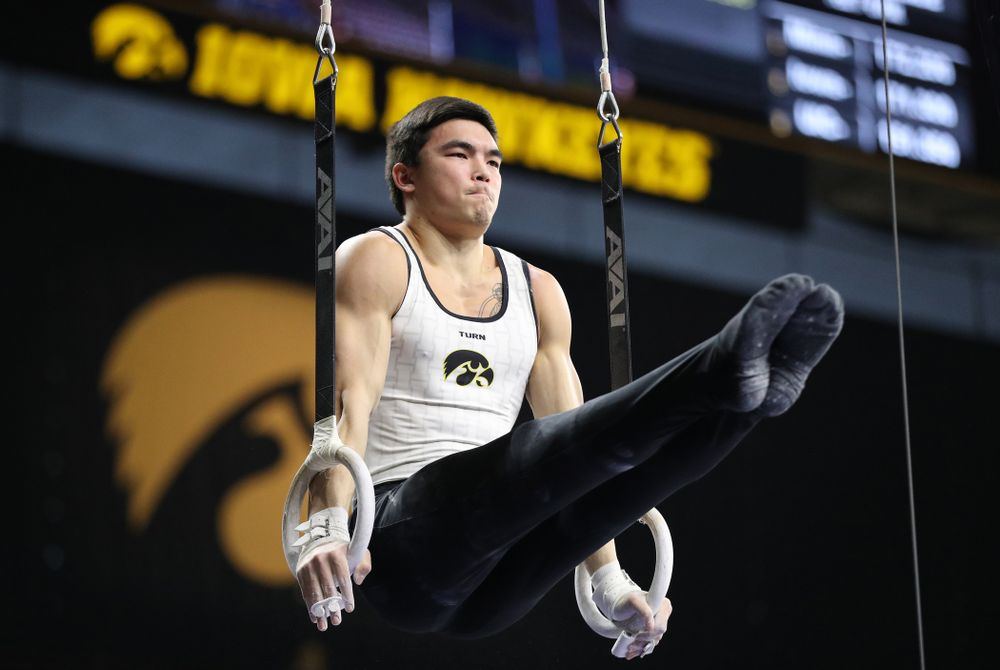 Iowa's Addison Chung competes on the rings against UIC and Minnesota Saturday, February 2, 2019 at Carver-Hawkeye Arena. (Brian Ray/hawkeyesports.com)