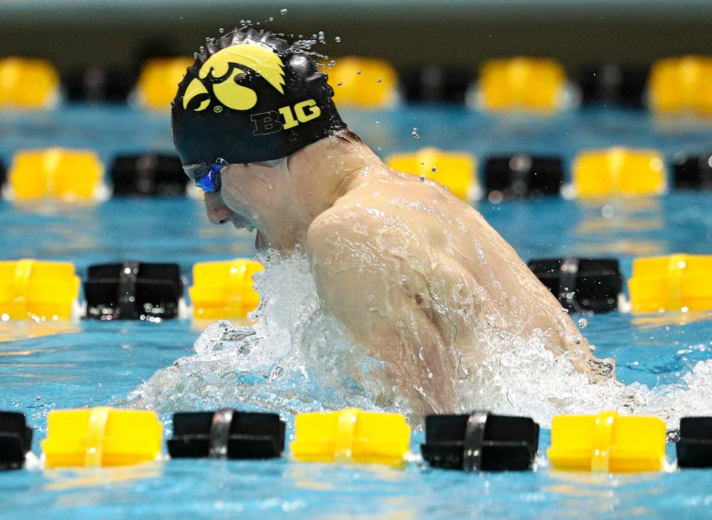 Iowa's Dolan Craine swims the breaststroke section of the 100-yard individual medley event during their meet against Michigan State at the Campus Recreation and Wellness Center in Iowa City on Thursday, Oct 3, 2019. (Stephen Mally/hawkeyesports.com)