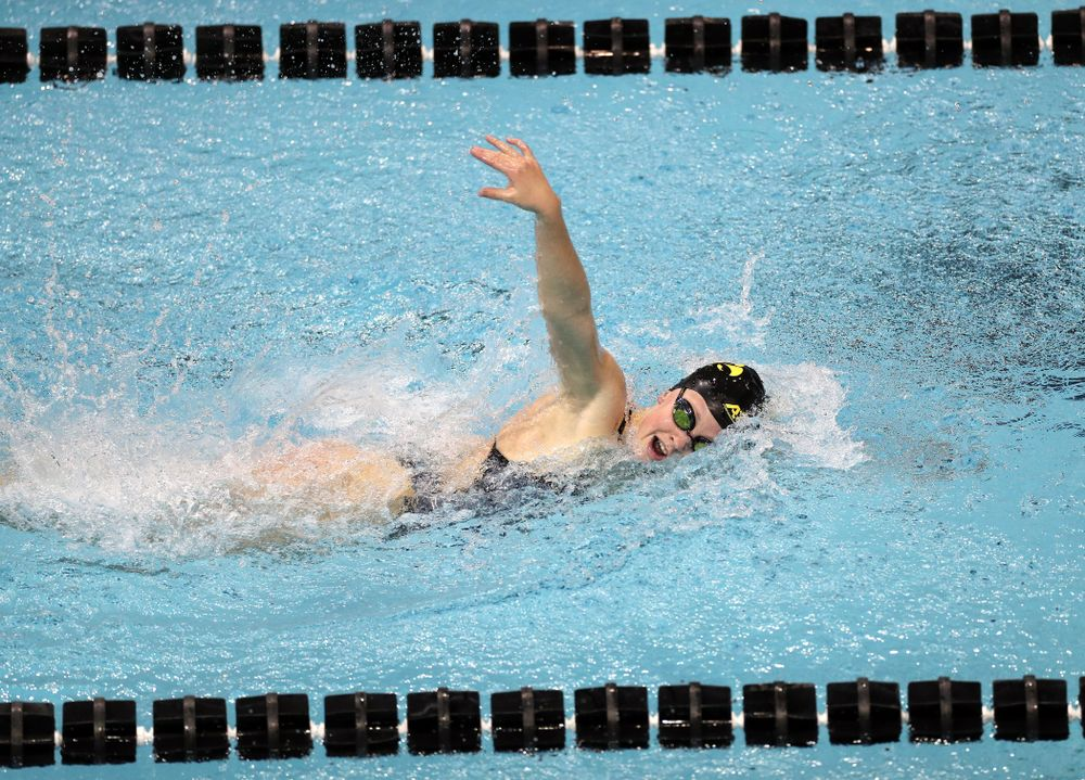 IowaÕs Ariel Wooden swims the 100 yard freestyle against the Michigan Wolverines Friday, November 1, 2019 at the Campus Recreation and Wellness Center. (Brian Ray/hawkeyesports.com)