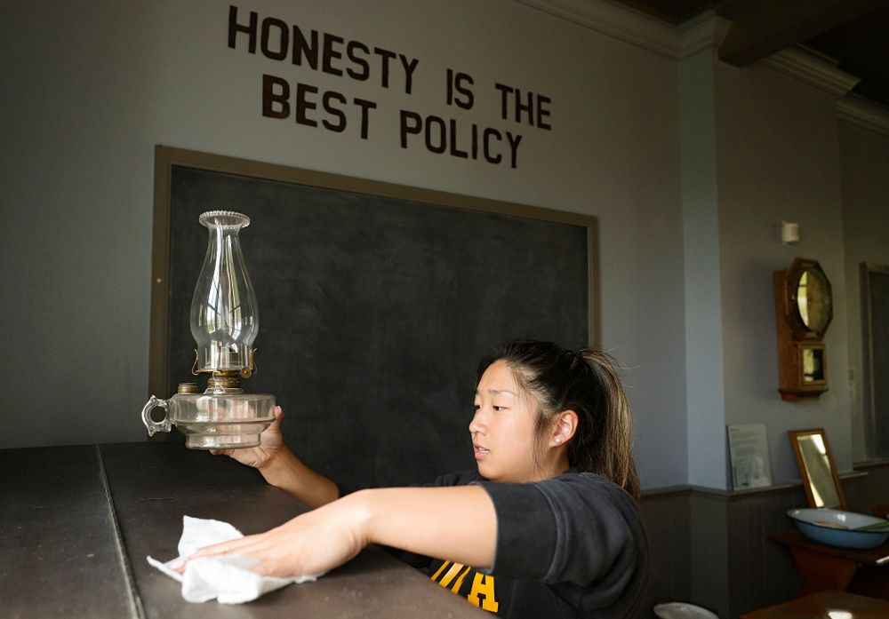 Iowa women's gymnasts clean the 1876 Coralville Schoolhouse during the 21st annual ISAAC Hawkeye Day of Caring in Coralville on Sunday, Apr. 28, 2019. (Stephen Mally/hawkeyesports.com)