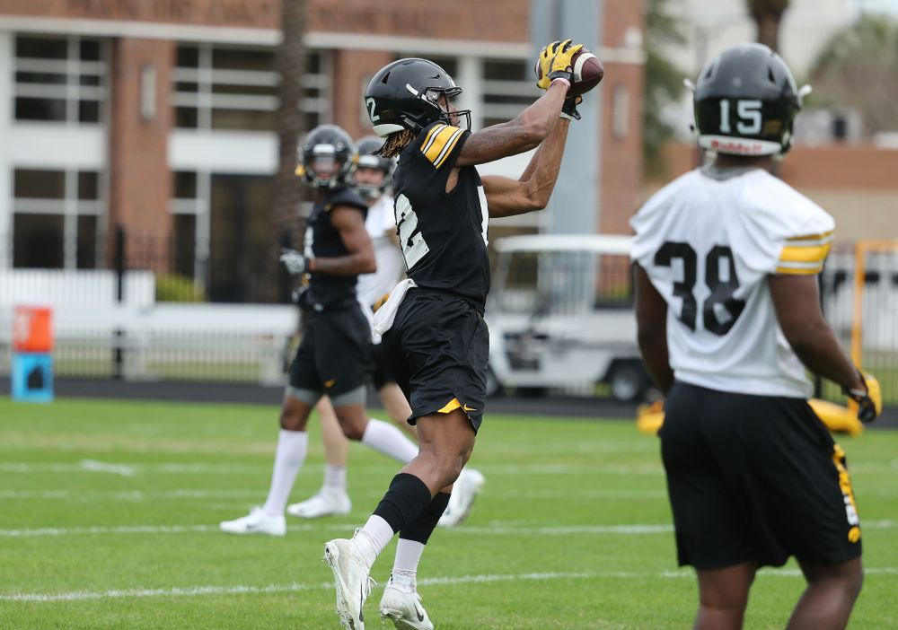 Iowa Hawkeyes wide receiver Brandon Smith (12) during the team's first Outback Bowl Practice in Florida Thursday, December 27, 2018 at Tampa University. (Brian Ray/hawkeyesports.com)