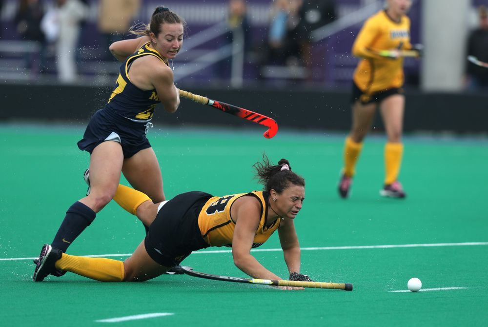 Iowa Hawkeyes Mya Christopher (18) against the Michigan Wolverines in the semi-finals of the Big Ten Tournament Friday, November 2, 2018 at Lakeside Field on the campus of Northwestern University in Evanston, Ill. (Brian Ray/hawkeyesports.com)
