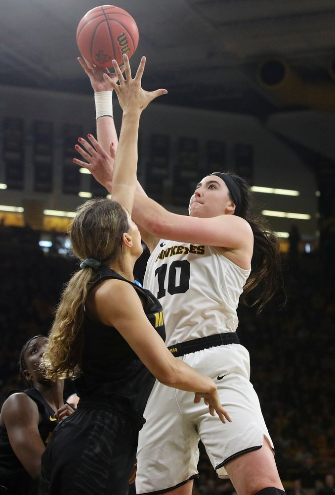 Iowa Hawkeyes center Megan Gustafson (10) scores a basket during the third quarter of their second round game in the 2019 NCAA Women's Basketball Tournament at Carver Hawkeye Arena in Iowa City on Sunday, Mar. 24, 2019. (Stephen Mally for hawkeyesports.com)