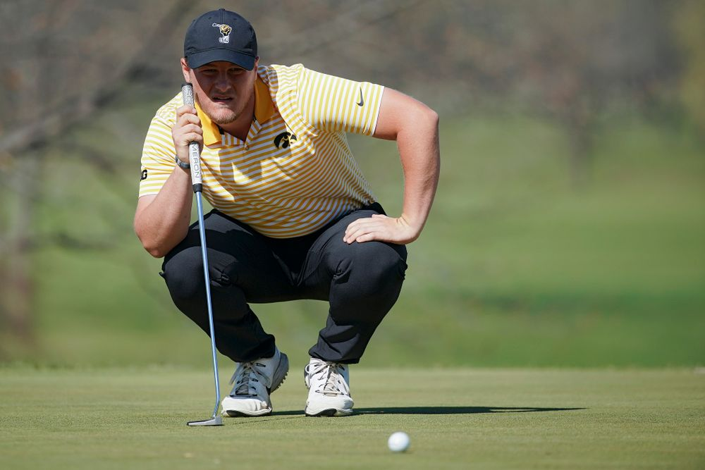 Iowa's Alex Schaake lines up a putt during the third round of the Hawkeye Invitational at Finkbine Golf Course in Iowa City on Sunday, Apr. 21, 2019. (Stephen Mally/hawkeyesports.com)