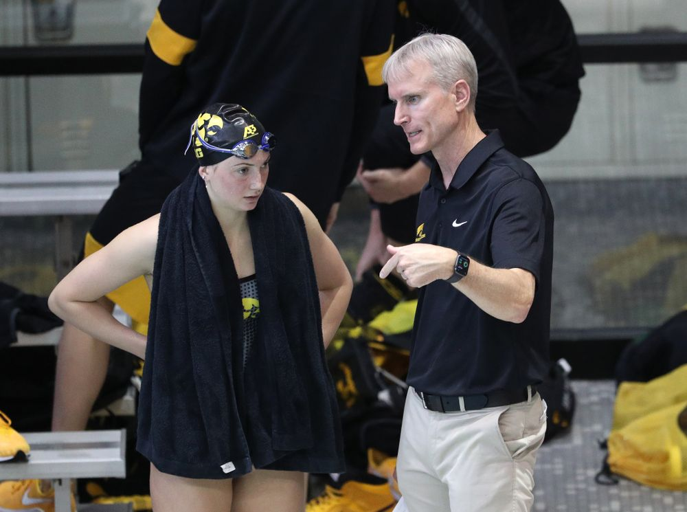 Iowa Hawkeyes head coach Marc Long against Notre Dame and Illinois Saturday, January 11, 2020 at the Campus Recreation and Wellness Center.  (Brian Ray/hawkeyesports.com)
