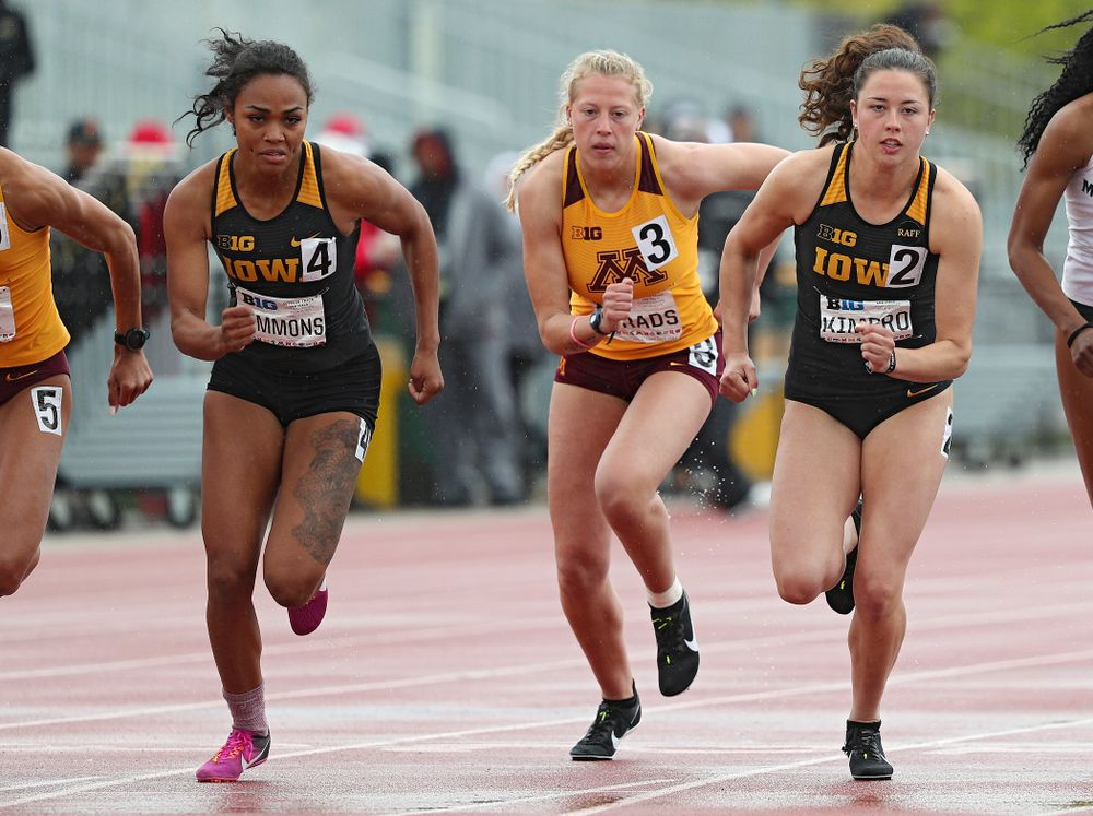 Iowa's Tria Simmons (left) and Jenny Kimbro (right) run in the women's 800 meter in the heptathlon event on the second day of the Big Ten Outdoor Track and Field Championships at Francis X. Cretzmeyer Track in Iowa City on Saturday, May. 11, 2019. (Stephen Mally/hawkeyesports.com)