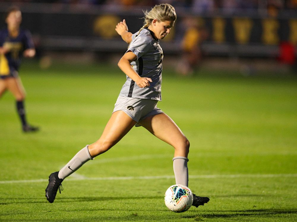 Iowa forward Gianna Gourley (32) lines up a shot during the first half of their match at the Iowa Soccer Complex in Iowa City on Friday, Sep 13, 2019. (Stephen Mally/hawkeyesports.com)