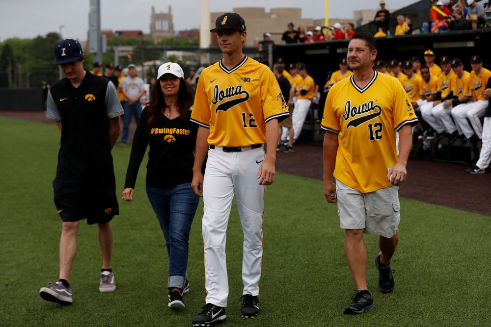 Iowa Hawkeyes pitcher Nick Nelsen (12) during senior day activities before their game against the Penn State Nittany Lions Saturday, May 19, 2018 at Duane Banks Field. (Brian Ray/hawkeyesports.com)