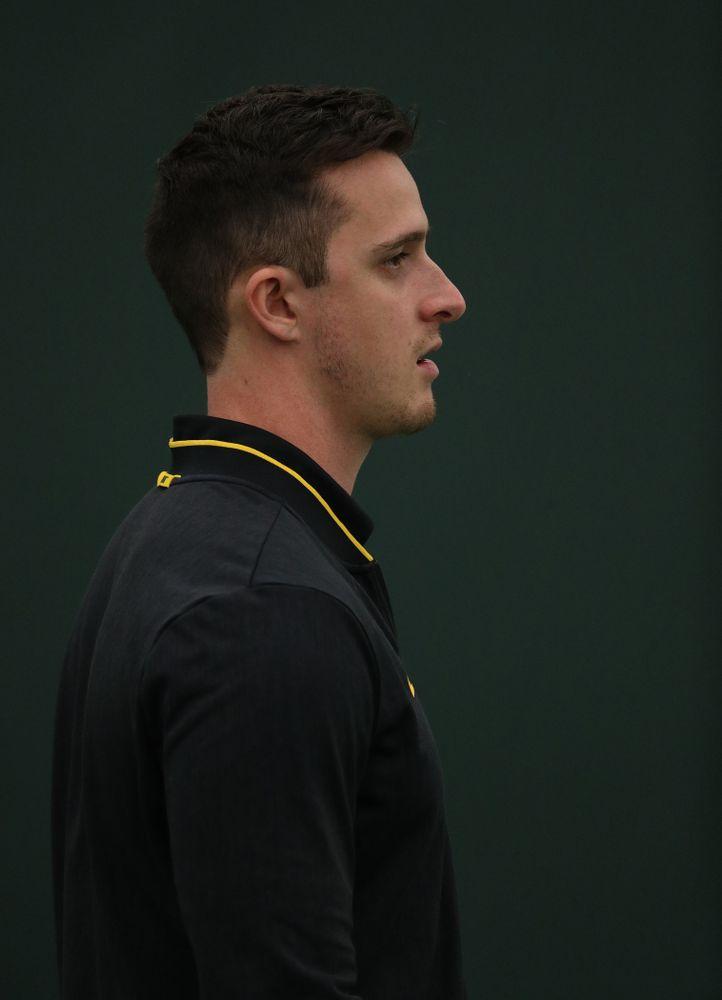 Assistant Coach Joey Manilla against North Dakota Friday, January 25, 2019 at the Hawkeye Tennis and Recreation Complex. (Brian Ray/hawkeyesports.com)
