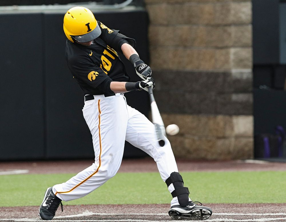 Iowa Hawkeyes left fielder Chris Whelan (28) bats during the second inning of their game against Western Illinois at Duane Banks Field in Iowa City on Wednesday, May. 1, 2019. (Stephen Mally/hawkeyesports.com)