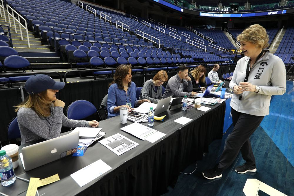 during media and practice as they prepare for their Sweet 16 matchup against NC State Friday, March 29, 2019 at the Greensboro Coliseum in Greensboro, NC.(Brian Ray/hawkeyesports.com)