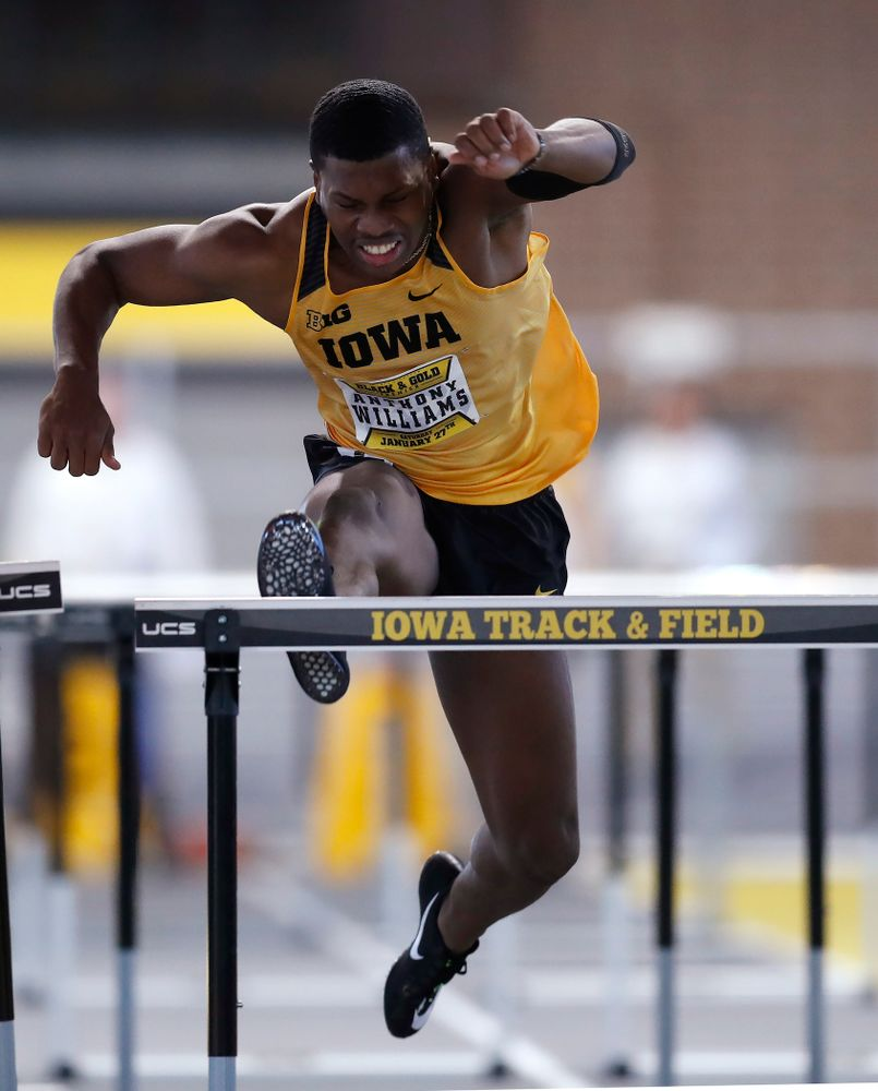 Anthony Williams competes in 60 meter high hurdles