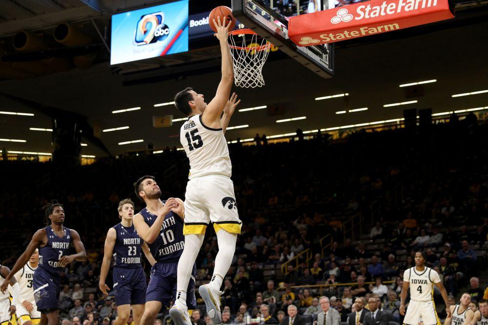 Iowa Hawkeyes forward Ryan Kriener (15) against North Florida Thursday, November 21, 2019 at Carver-Hawkeye Arena. (Brian Ray/hawkeyesports.com)