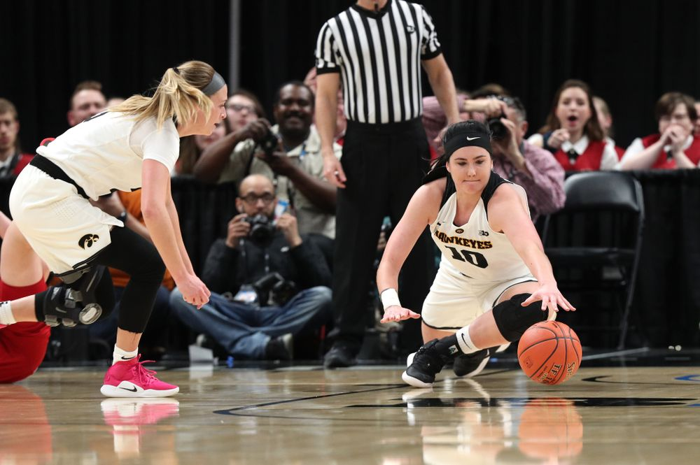 Iowa Hawkeyes forward Megan Gustafson (10) against the Indiana Hoosiers in the quarterfinals of the Big Ten Tournament Friday, March 8, 2019 at Bankers Life Fieldhouse in Indianapolis, Ind. (Brian Ray/hawkeyesports.com)