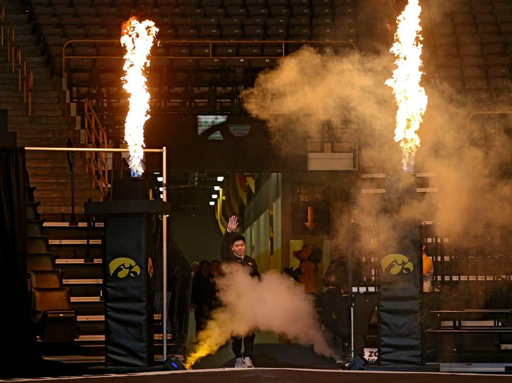 Iowa's is introduced for their meet against Ohio State at Caver-Hawkeye Arena in Iowa City on Saturday, Mar. 16, 2019. (Stephen Mally for HawkeyeSports.com)