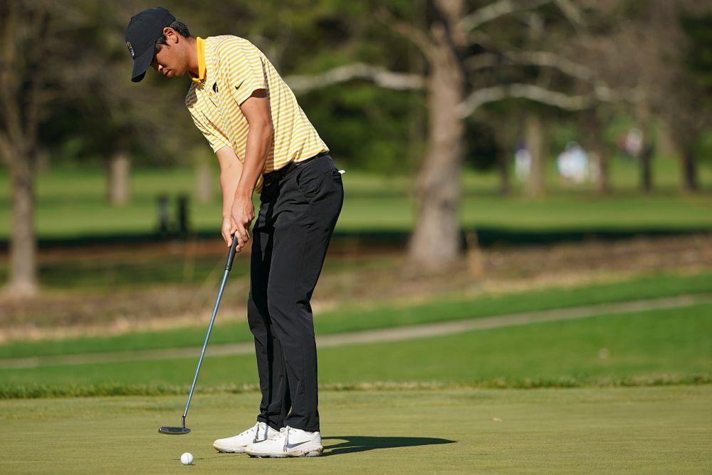 Iowa's Joe Kim putts during the third round of the Hawkeye Invitational at Finkbine Golf Course in Iowa City on Sunday, Apr. 21, 2019. (Stephen Mally/hawkeyesports.com)