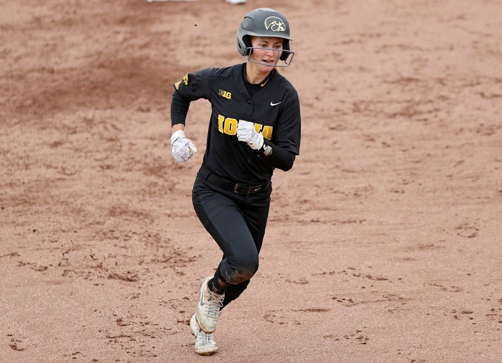 Iowa's Aralee Bogar (2) runs to third during the fourth inning of their game against Iowa Softball vs Indian Hills Community College at Pearl Field in Iowa City on Sunday, Oct 6, 2019. (Stephen Mally/hawkeyesports.com)