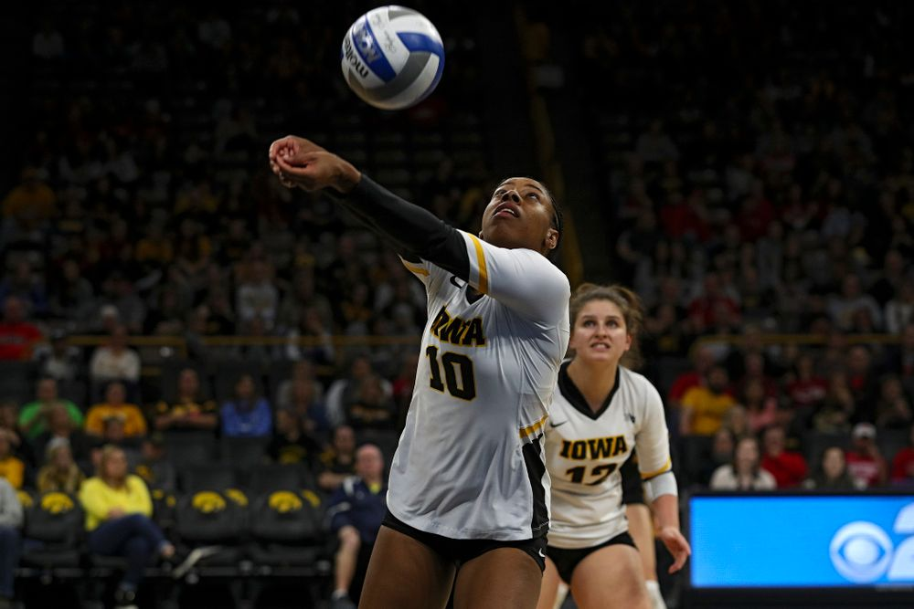 Iowa's Griere Hughes (10) sends the ball over the net during the third set of their match against Nebraska at Carver-Hawkeye Arena in Iowa City on Saturday, Nov 9, 2019. (Stephen Mally/hawkeyesports.com)