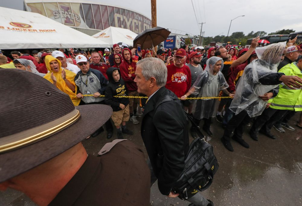 Iowa Hawkeyes head coach Kirk Ferentz arrives for their game against the Iowa State Cyclones Saturday, September 14, 2019 at Jack Trice Stadium in Ames, Iowa. (Brian Ray/hawkeyesports.com)