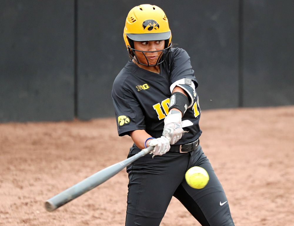 Iowa infielder Avery Guy (11) bats during the sixth inning of their game against Iowa Softball vs Indian Hills Community College at Pearl Field in Iowa City on Sunday, Oct 6, 2019. (Stephen Mally/hawkeyesports.com)