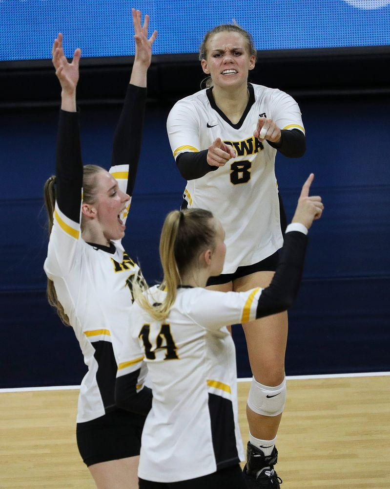 Iowa Hawkeyes right side hitter Reghan Coyle (8) celebrates after winning a point during a match against Penn State at Carver-Hawkeye Arena on November 3, 2018. (Tork Mason/hawkeyesports.com)