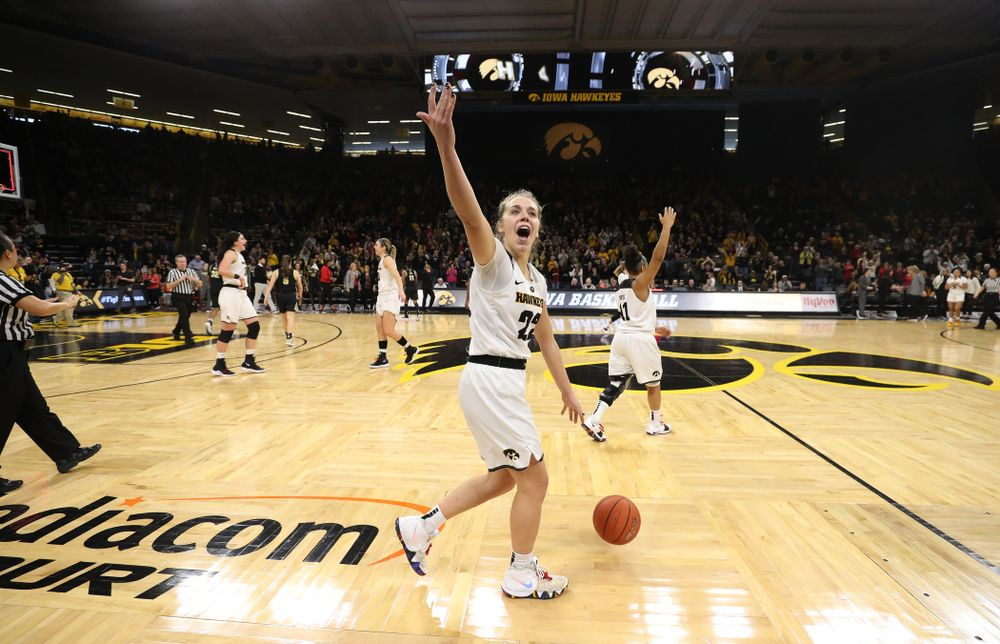 Iowa Hawkeyes guard Kathleen Doyle (22) celebrates their win over the Purdue Boilermakers Sunday, January 27, 2019 at Carver-Hawkeye Arena. (Brian Ray/hawkeyesports.com)