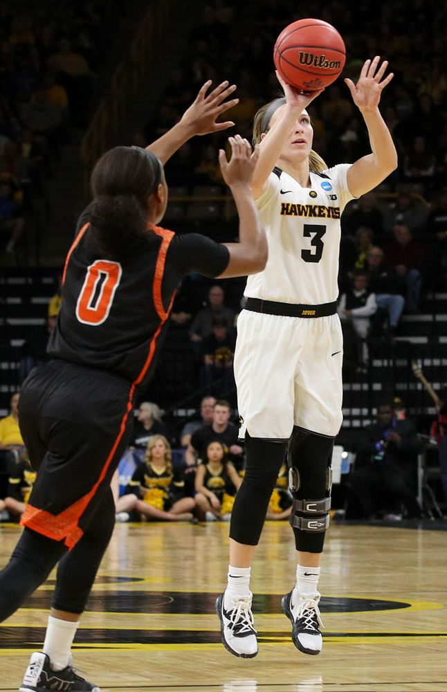Iowa Hawkeyes guard Makenzie Meyer (3) makes a 3-pointer during the first round of the 2019 NCAA Women's Basketball Tournament at Carver Hawkeye Arena in Iowa City on Friday, Mar. 22, 2019. (Stephen Mally for hawkeyesports.com)