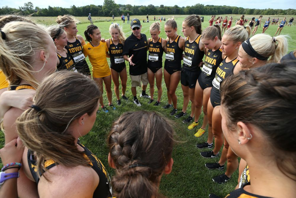 Head Coach Randy Hasenbank during the Hawkeye Invitational Friday, August 31, 2018 at the Ashton Cross Country Course.  (Brian Ray/hawkeyesports.com)