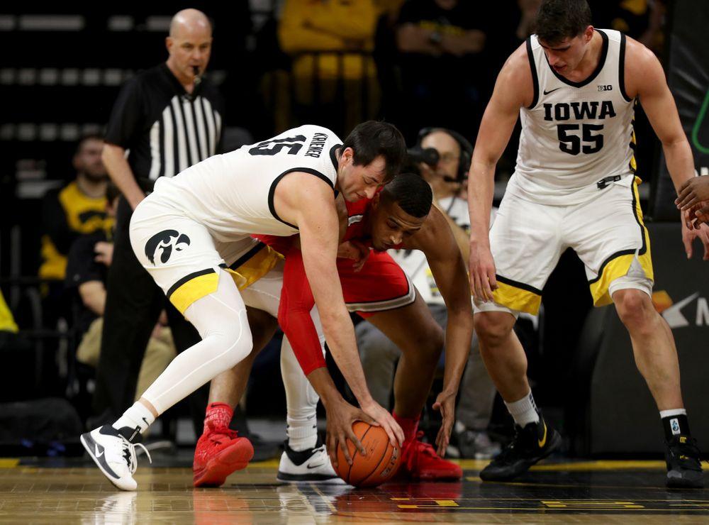 Iowa Hawkeyes forward Ryan Kriener (15) against the Ohio State Buckeyes Thursday, February 20, 2020 at Carver-Hawkeye Arena. (Brian Ray/hawkeyesports.com)