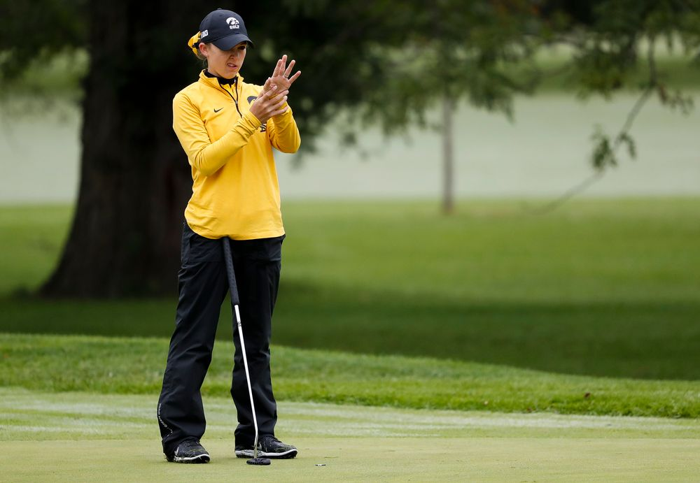 Iowa's Brett Permann reads the green during the Diane Thomason Invitational at Finkbine Golf Course on September 29, 2018. (Tork Mason/hawkeyesports.com)