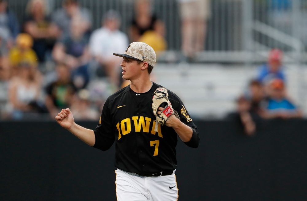 Iowa Hawkeyes pitcher Grant Judkins (7) gets a strikeout  against the Penn State Nittany Lions Friday, May 18, 2018 at Duane Banks Field. (Brian Ray/hawkeyesports.com)