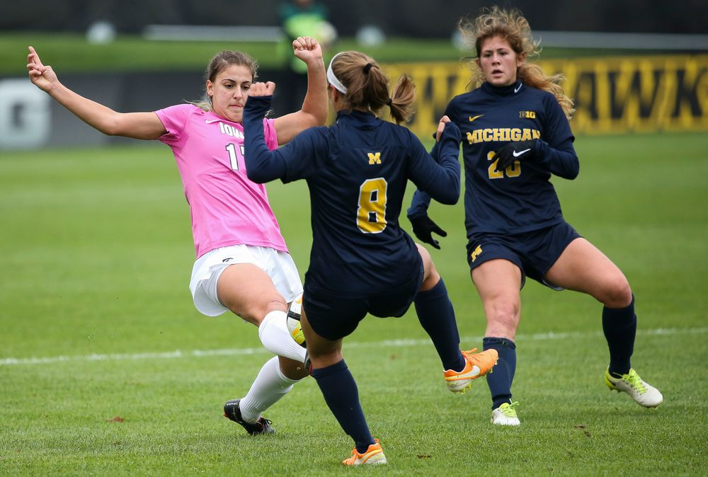 Iowa Hawkeyes defender Hannah Drkulec (17) makes a tackle during a game against Michigan at the Iowa Soccer Complex on October 14, 2018. (Tork Mason/hawkeyesports.com)