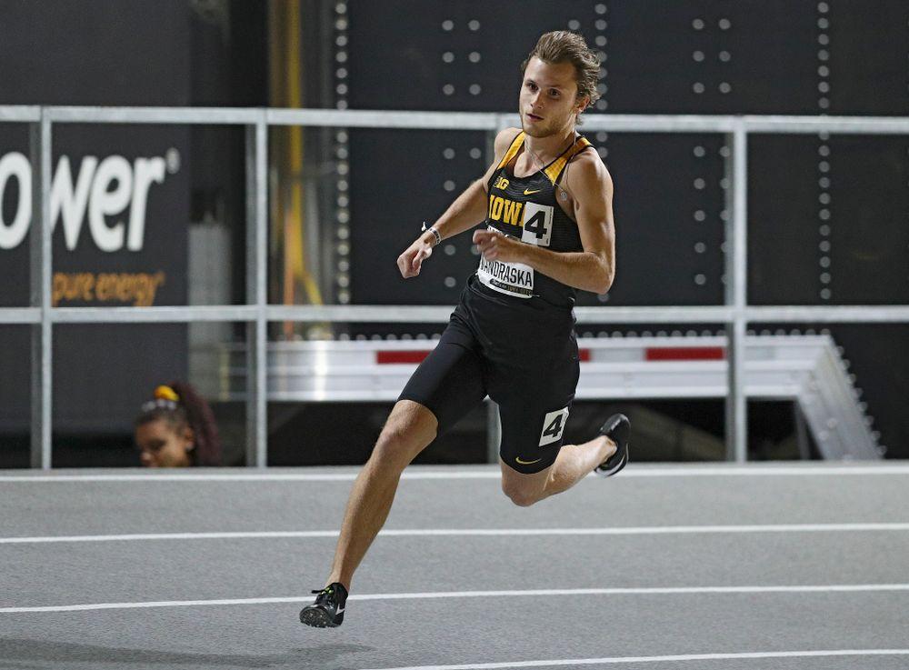 Iowa's Tysen VanDraska runs the men's 600 meter run premier event during the Larry Wieczorek Invitational at the Recreation Building in Iowa City on Friday, January 17, 2020. (Stephen Mally/hawkeyesports.com)