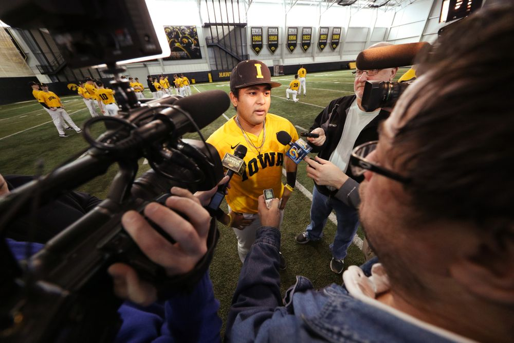 Iowa Hawkeyes infielder Izaya Fullard (20) answers questions from reporters during their annual media day Thursday, February 6, 2020 at the Indoor Practice Facility. (Brian Ray/hawkeyesports.com)