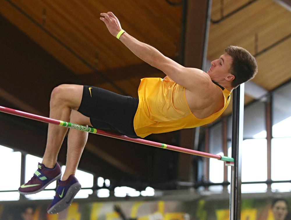 Iowa's Austin West competes in the men's high jump event during the Jimmy Grant Invitational at the Recreation Building in Iowa City on Saturday, December 14, 2019. (Stephen Mally/hawkeyesports.com)