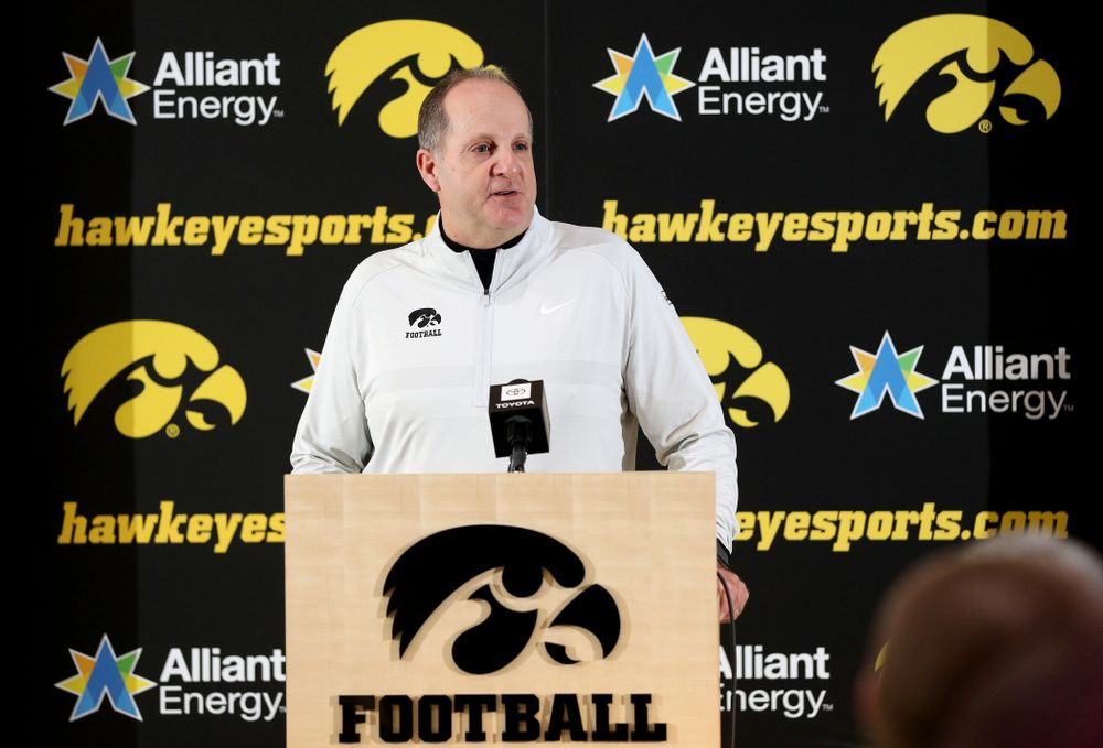 Iowa Hawkeyes defensive coordinator Phil Parker addresses the media on the Hawkeyes selection to face USC in the 2019 Holiday Bowl Sunday, December 8, 2019 at the Hansen Football Performance Center. (Brian Ray/hawkeyesports.com)