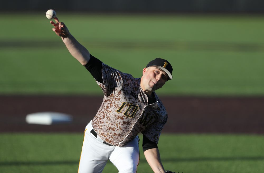 Iowa Hawkeyes Cole McDonald (11) delivers the ball to the plate against the Nebraska Cornhuskers on Military Appreciation Night Friday, April 19, 2019 at Duane Banks Field. (Brian Ray/hawkeyesports.com)